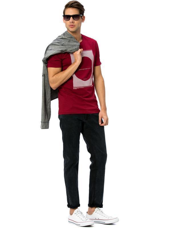 Мужская футболка бордового цвета lc waikiki / лс вайкики футбо... - Фото 4