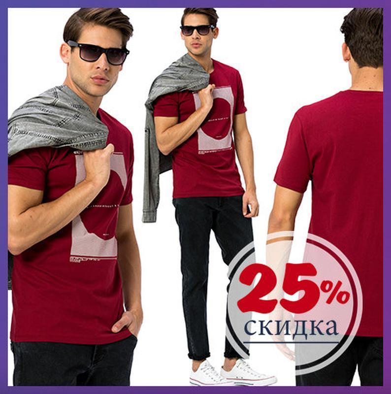 Мужская футболка бордового цвета lc waikiki / лс вайкики  футб...