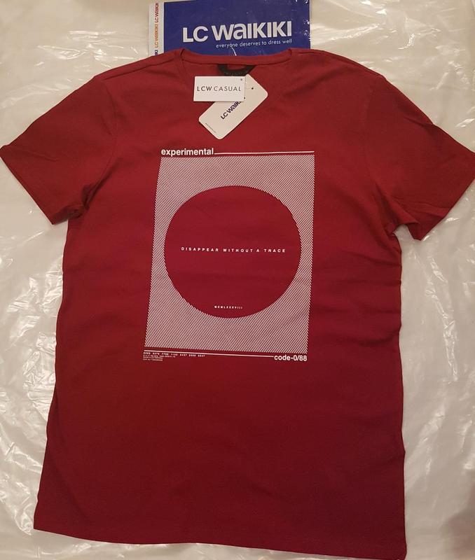 Мужская футболка бордового цвета lc waikiki / лс вайкики  футб... - Фото 2