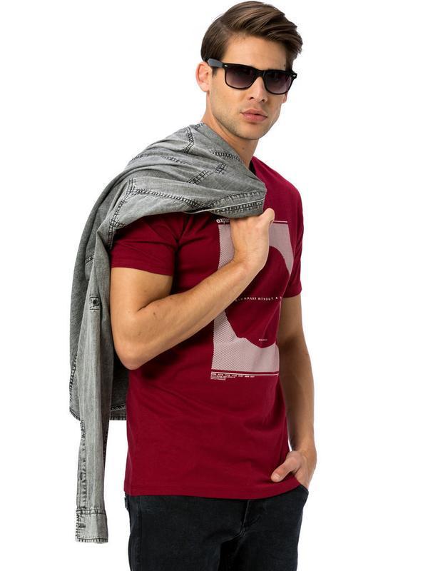 Мужская футболка бордового цвета lc waikiki / лс вайкики  футб... - Фото 3