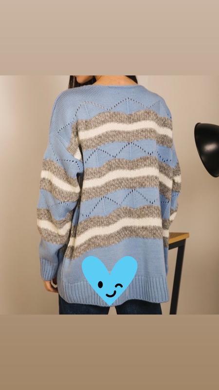Шикарный трендовый вязаный свитер пастельно-голубого цвета новый - Фото 3