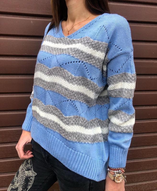Шикарный трендовый вязаный свитер пастельно-голубого цвета новый - Фото 4