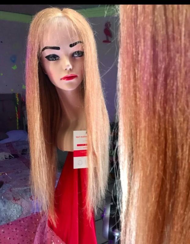 Натуральный парик сетка имитирует кожу - Фото 4