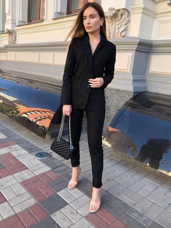 Распродажа строгий костюм лен черный много цветов и размеров