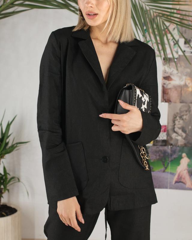 Распродажа строгий костюм лен черный много цветов и размеров - Фото 3