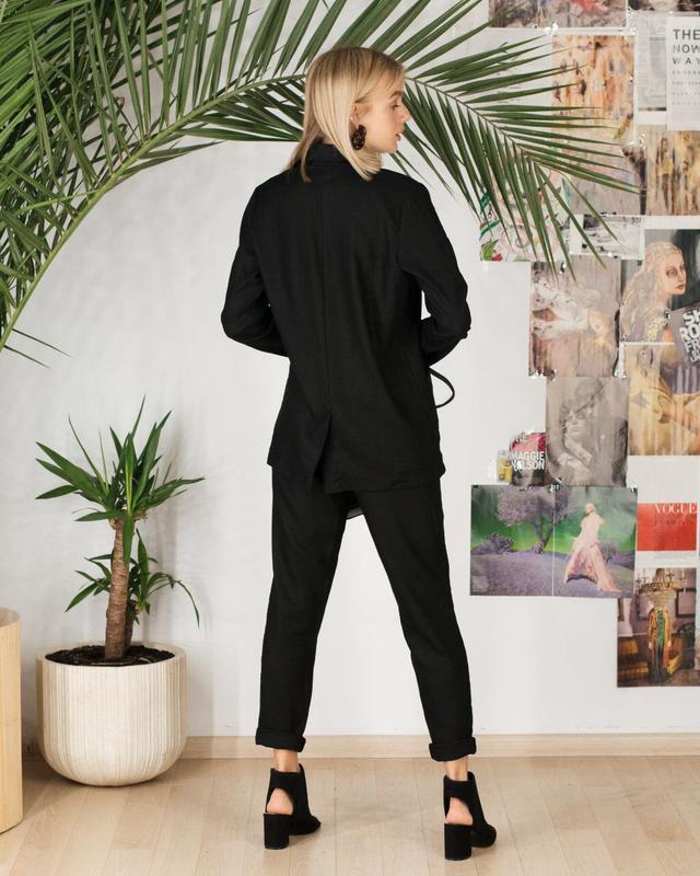 Распродажа строгий костюм лен черный много цветов и размеров - Фото 6
