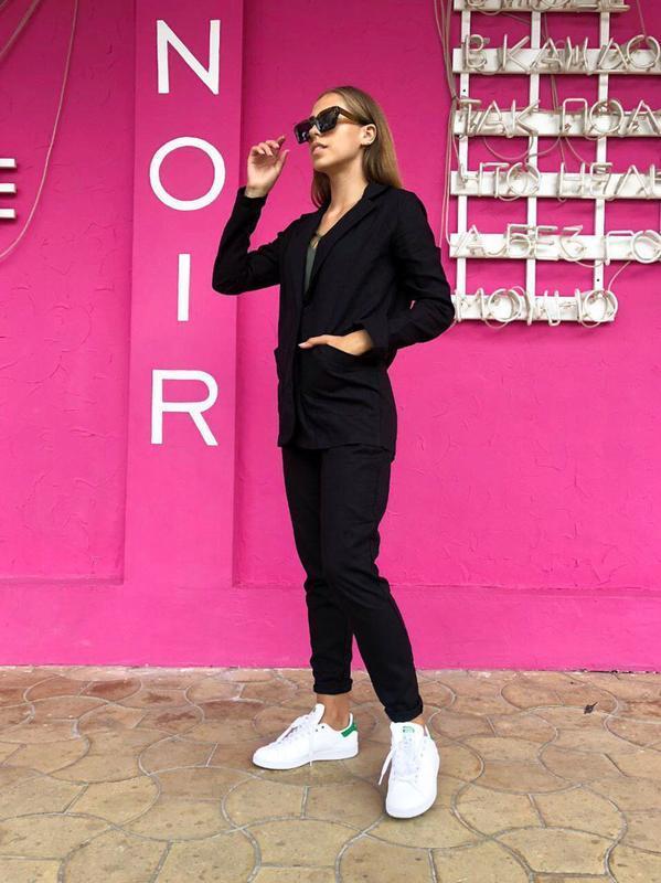 Распродажа строгий костюм лен черный много цветов и размеров - Фото 7