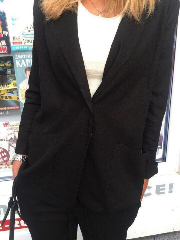 Распродажа строгий костюм лен черный много цветов и размеров - Фото 8