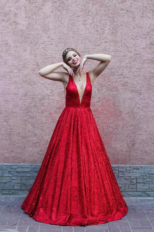 Платье вечернее 2 в 1, ткань- глиттер на сетке - Фото 2