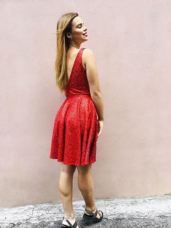 Платье вечернее 2 в 1, ткань- глиттер на сетке - Фото 4