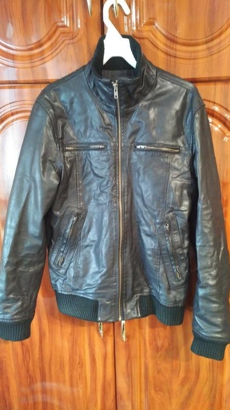 Мужская кожанная куртка jack & jones
