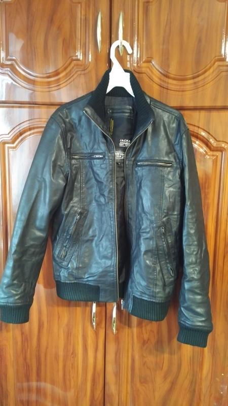 Мужская кожанная куртка jack & jones - Фото 3
