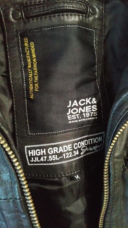 Мужская кожанная куртка jack & jones - Фото 5