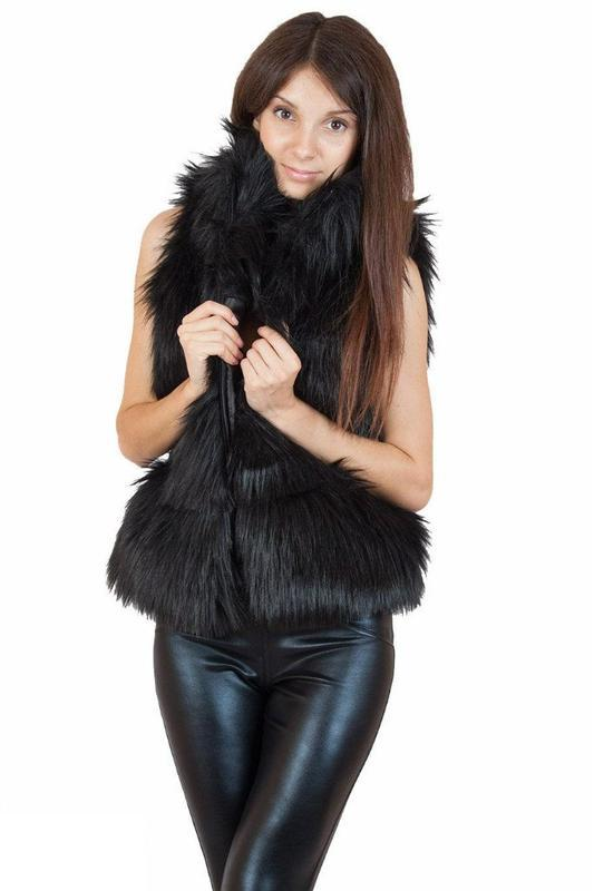 Женские жилетки кожаные с мехом фото