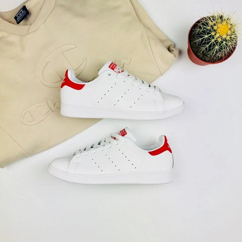 "Кроссовки Adidas Stan Smith ""White/Red"" - Фото 2"