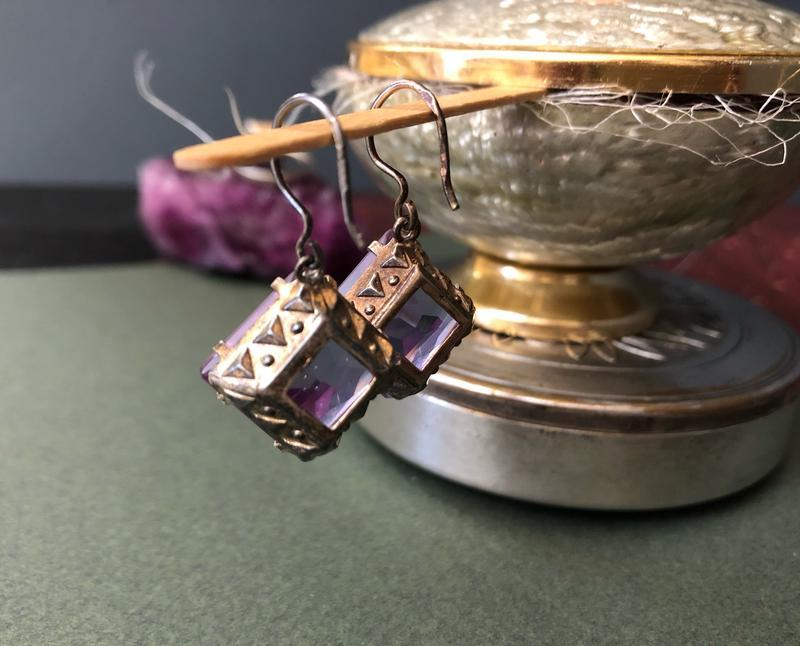 Набор серьги и кольцо ссср, серебро 875 звезда, аметист - Фото 7