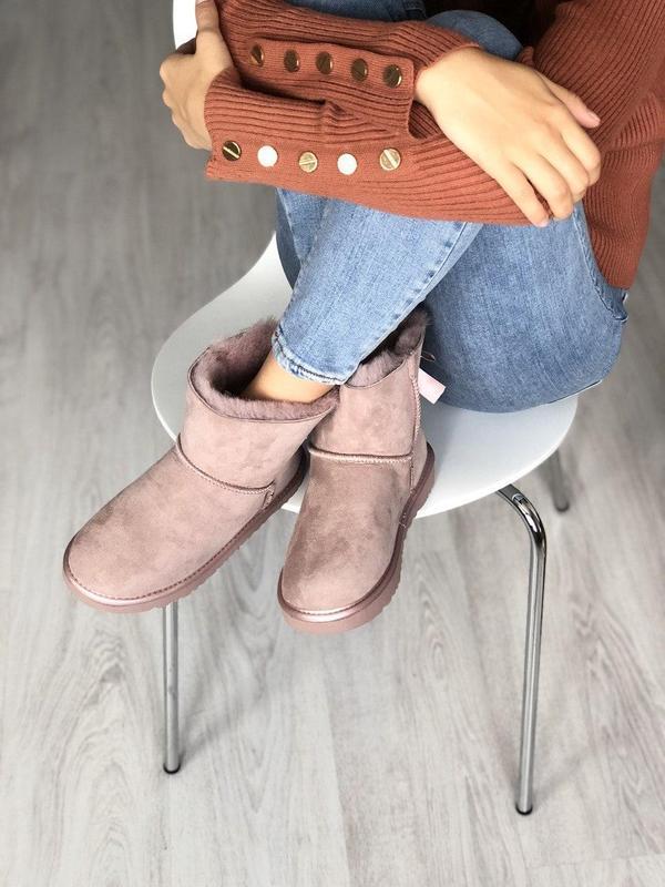 Шикарные розовые женские ботинки ugg mini bailey bow ii grey - Фото 5