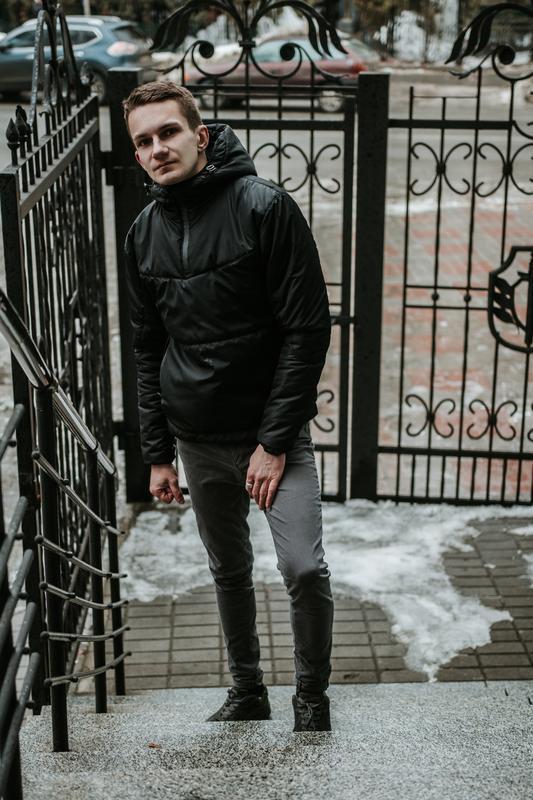 Мужская ветровка анорак весна / осень intruder hypnotic (черный)