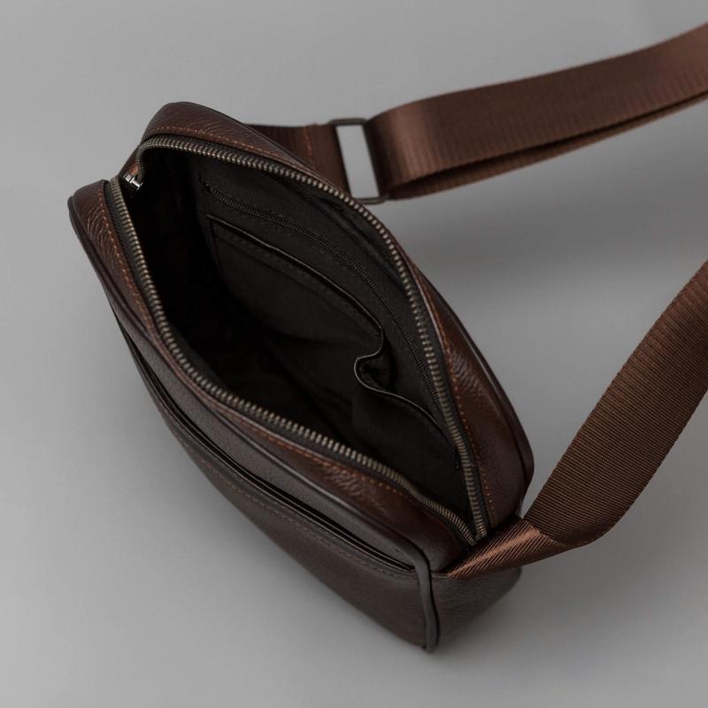 Мужская кожаная сумка через плечо - Фото 4