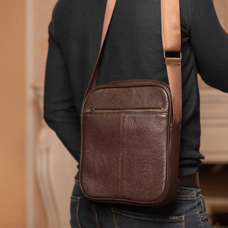 Мужская кожаная сумка через плечо - Фото 5