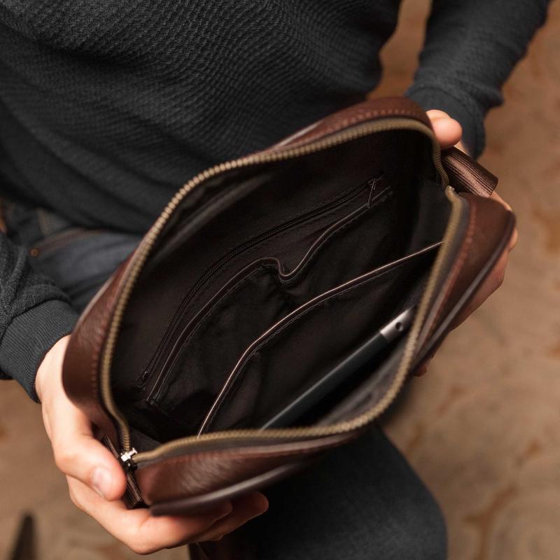 Мужская кожаная сумка через плечо - Фото 6