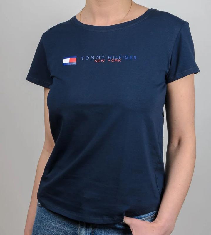 Модная женская футболка, свободный крой, темно синий цвет