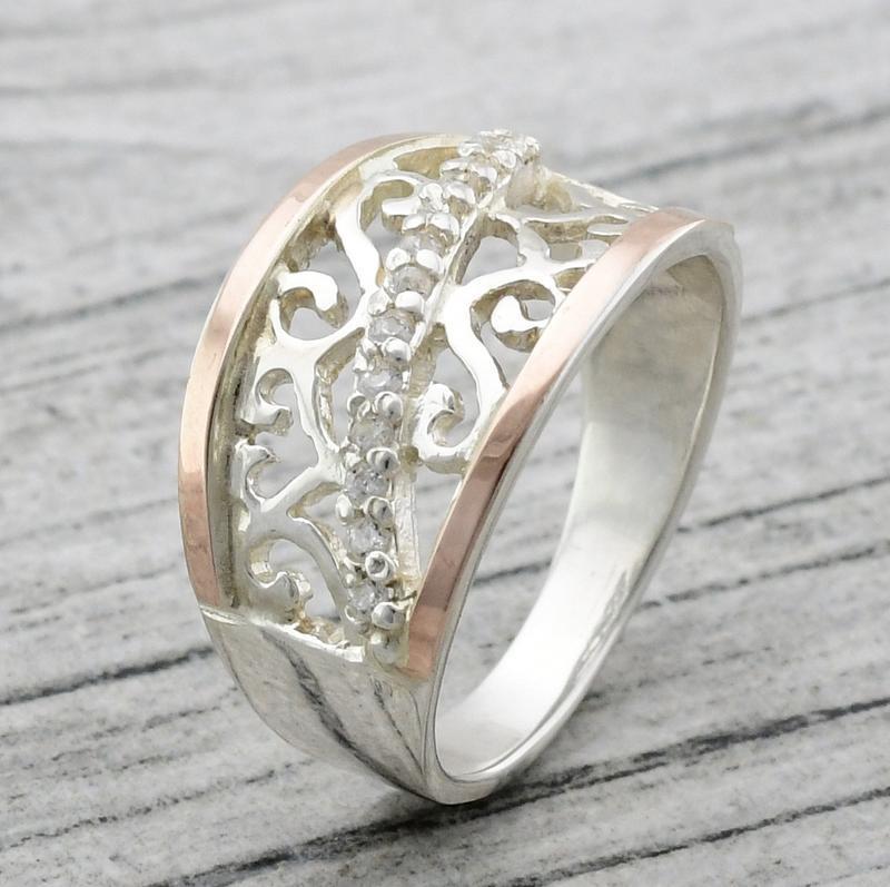 Серебряное кольцо с золотыми пластинами - Фото 2