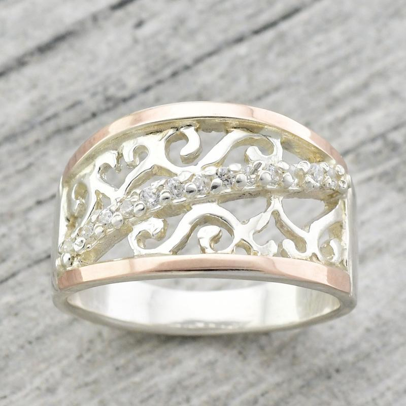 Серебряное кольцо с золотыми пластинами - Фото 4