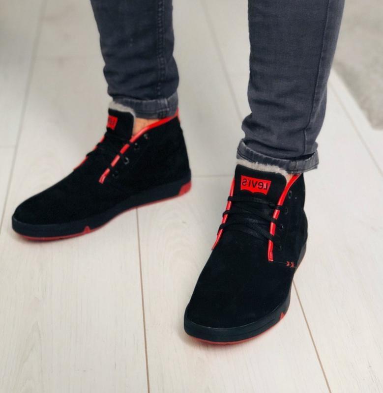 Мужские зимние черные кроссовки из нубука с вставками красной ...