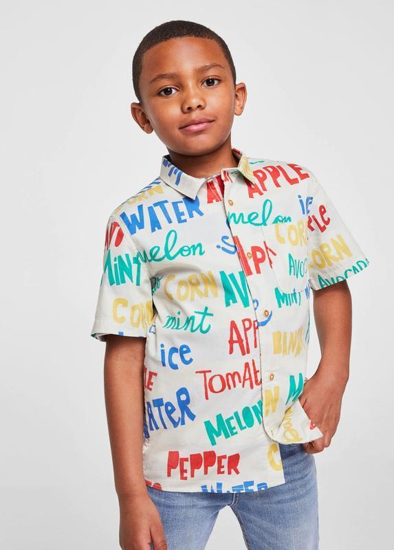 Стильная рубашка для мальчика mango с надписями