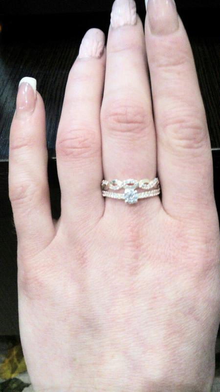 Кольцо двойное волнистое с россыпью камней - Фото 4