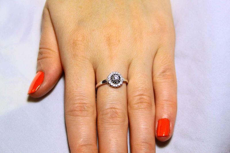 Кольцо серебро 925 проба 17.5 размер - Фото 3