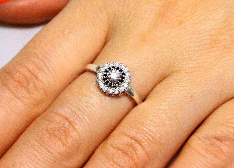 Кольцо серебро 925 проба 17.5 размер - Фото 5