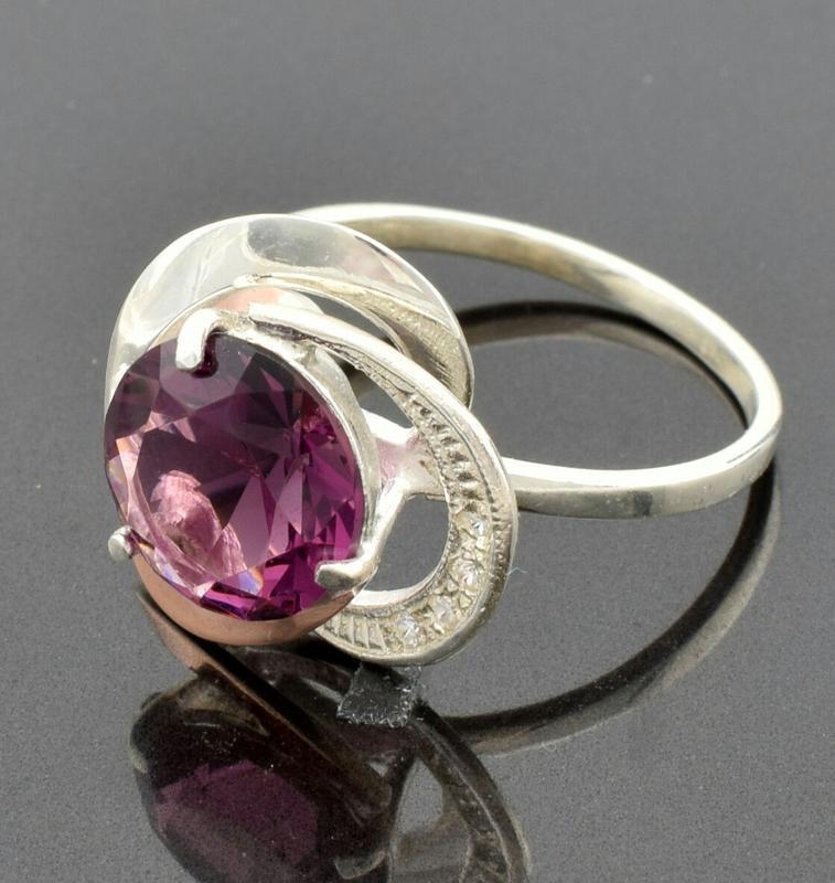 """Серебряное кольцо """"роза №2"""", вставка фиолетовый фианит"""