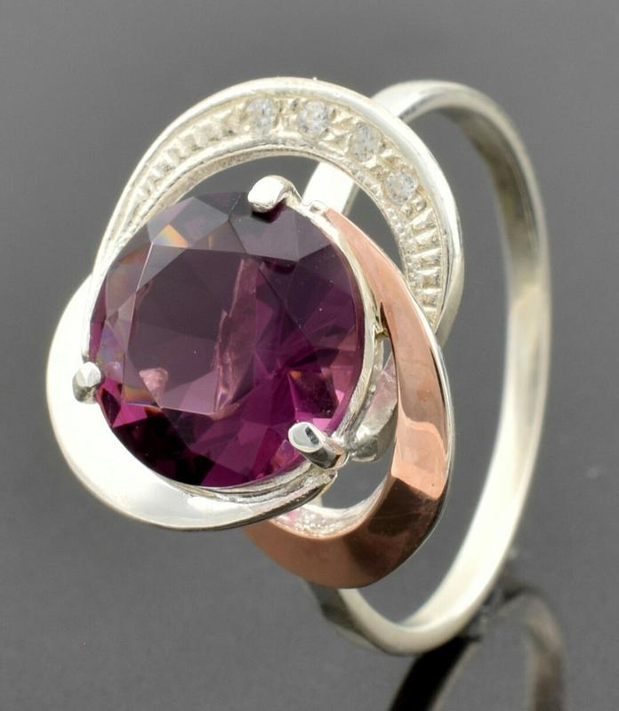 """Серебряное кольцо """"роза №2"""", вставка фиолетовый фианит - Фото 2"""