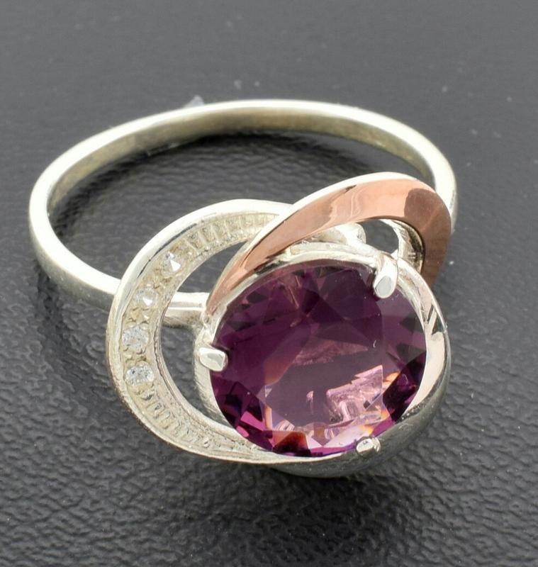 """Серебряное кольцо """"роза №2"""", вставка фиолетовый фианит - Фото 3"""