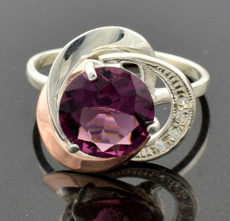 """Серебряное кольцо """"роза №2"""", вставка фиолетовый фианит - Фото 4"""