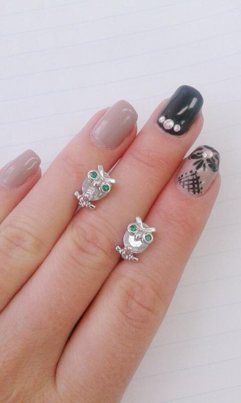 Серебряные серьги совы с камнями
