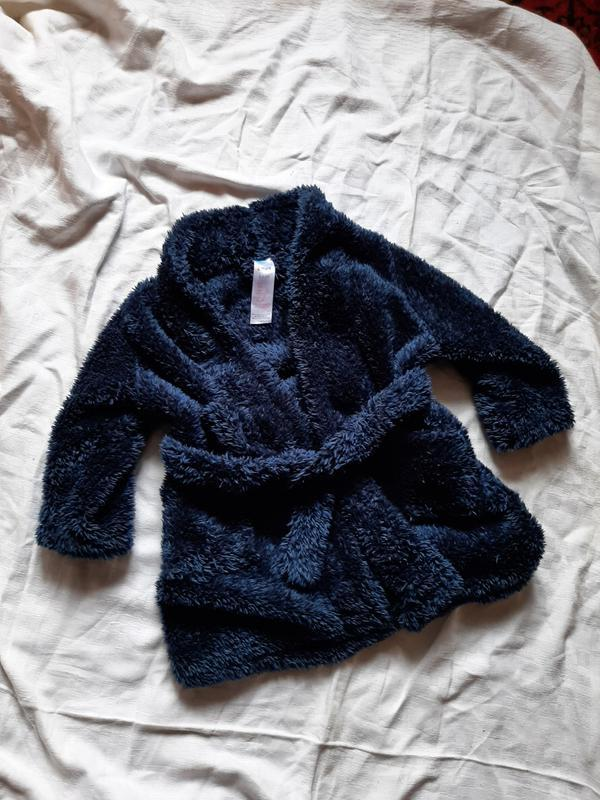 Синий детский халат халатик 2-3 года махровый теплый унисекс