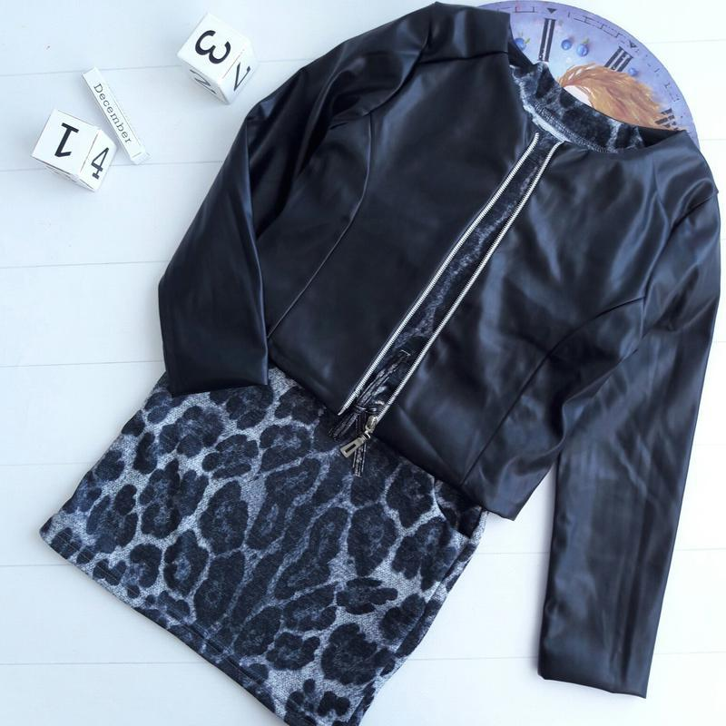 Костюм двойка, платье+пиджак экокожа