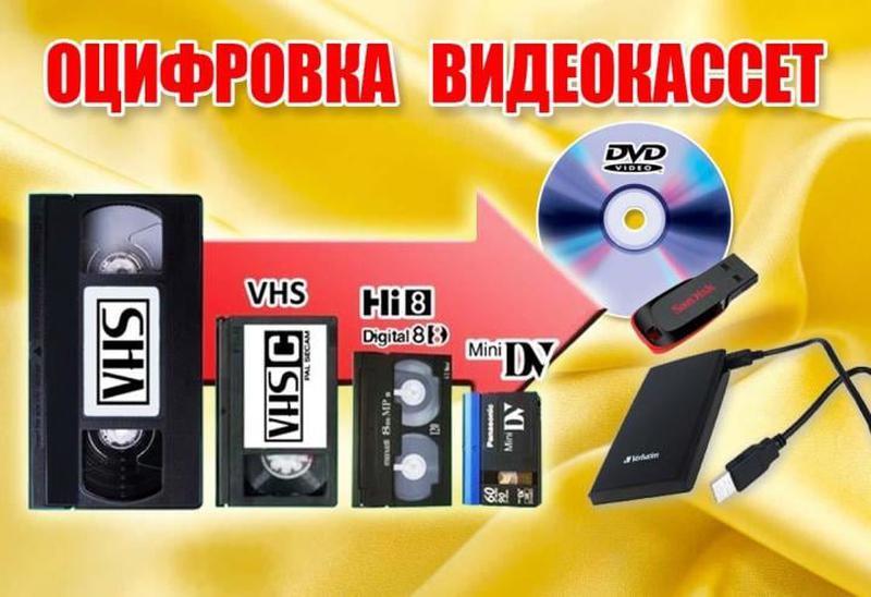 Оцифровка видеокассет, аудиокассет, фотографий.