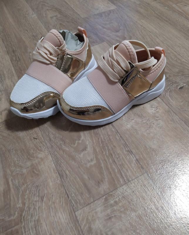 Кроссовки пудра золото модные красивые - Фото 2