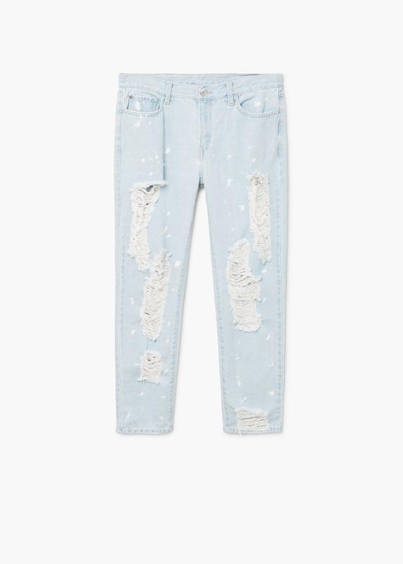 Актуальные прямые джинсы с рваностями - Фото 5