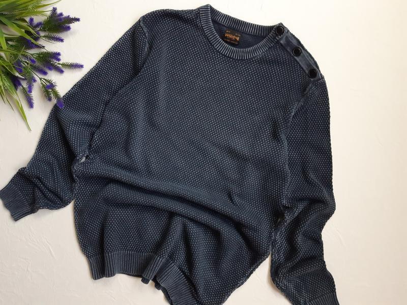 Винтаж, мужской коттоновый пуловер - Фото 4