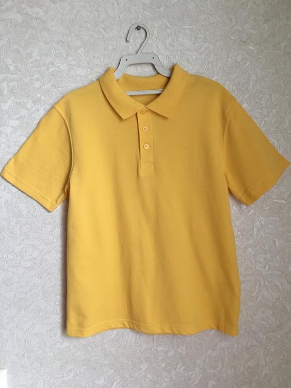 Желтая футболка поло на мальчика 9-10 лет. back to school