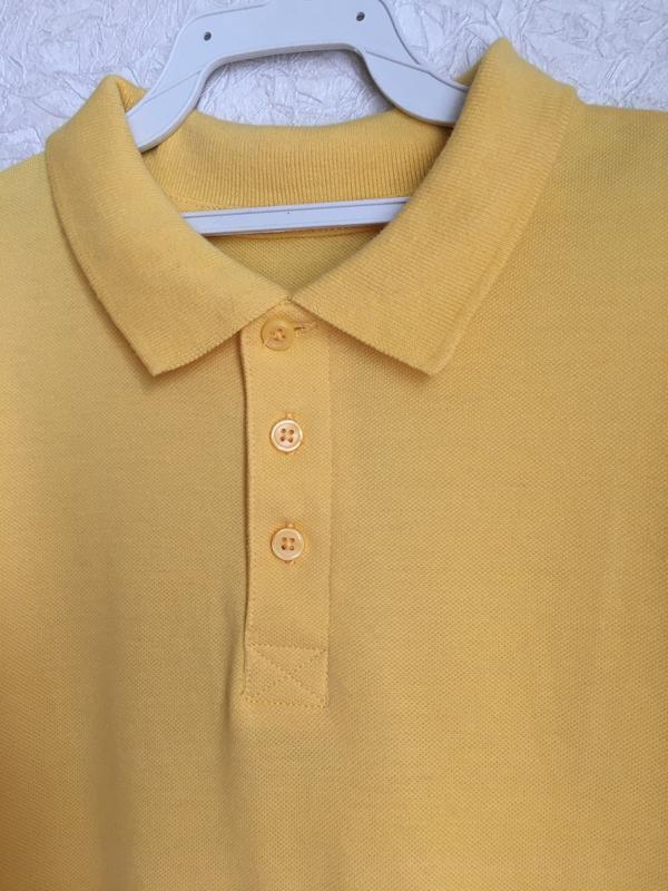 Желтая футболка поло на мальчика 9-10 лет. back to school - Фото 3