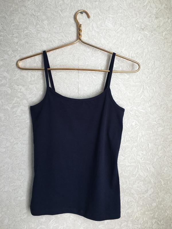 Темно-синяя майка на бретельках esmara lingerie. - Фото 3