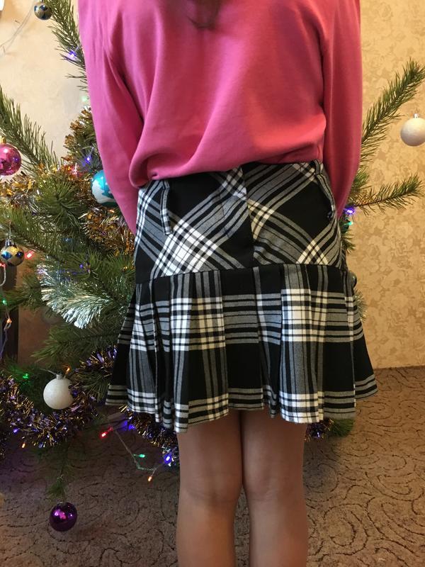 Красива юбка в клетку на девочку 8-9 лет - Фото 2
