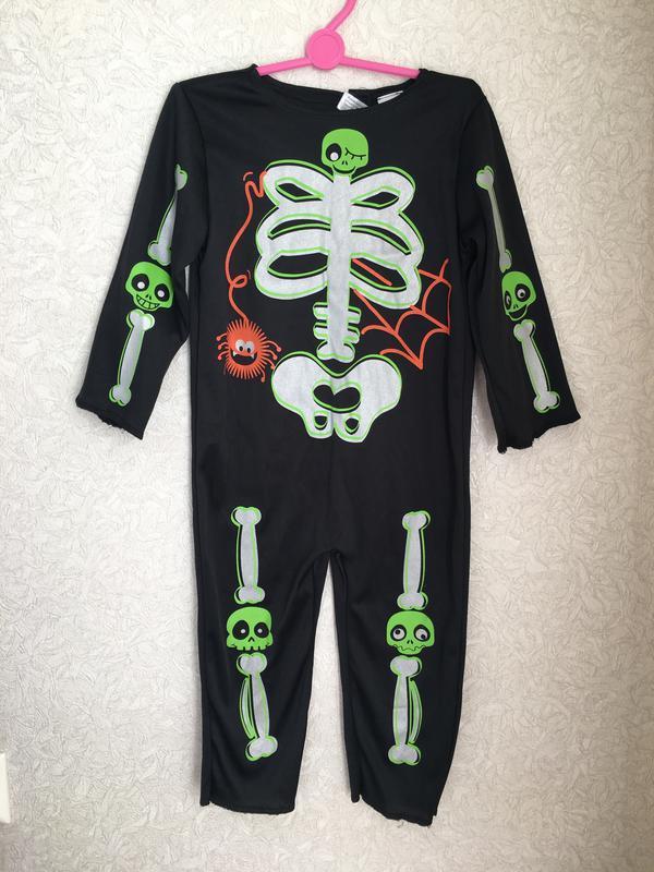 Карнавальный костюм скелета на мальчика 1-2 годика. на хеллоуи... - Фото 2