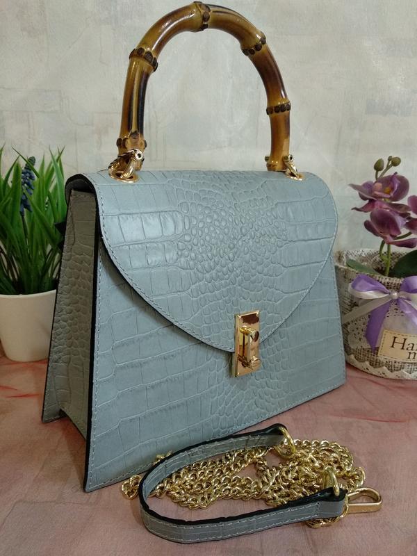 Оригинальная и стильная сумочка с бамбуковой ручкой - Фото 4
